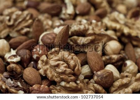 Nuts background closeup