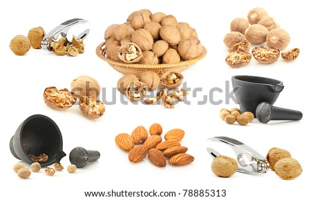 Nuts background. Set of nuts, spices, herbs and kitchen utensil
