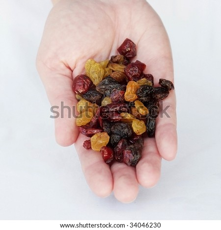 Nuts, berries and raisins in a hand