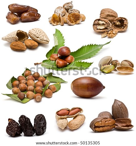 Nuts collection isolated on a white background.