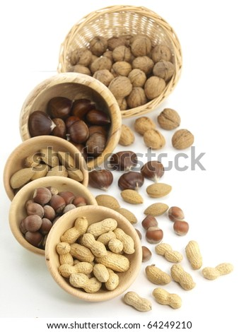 Nuts in the wooden basket