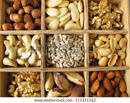 Nuts in wooden box
