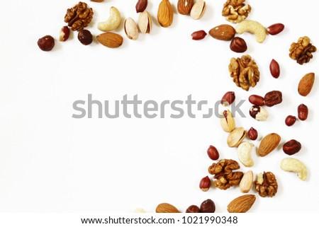 nuts mix for a healthy diet (cashew, pistachios, hazelnuts, walnuts, almonds) #1021990348