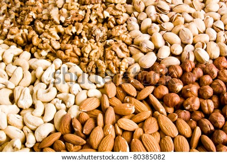 Nuts Mixed  — Different nuts (almons, cashews, walnuts and filbers)