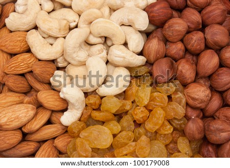 Nuts on white background.