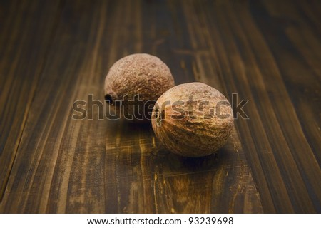 Nuts on wooden table