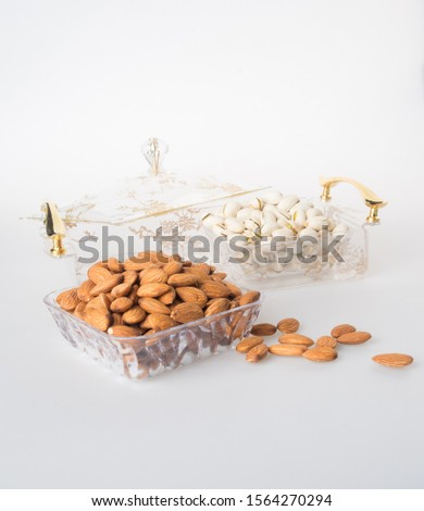 nuts or Almond nuts and Pistachio nuts on a background new