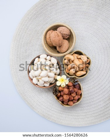 nuts or hazelnuts nuts and mix nut on a background new