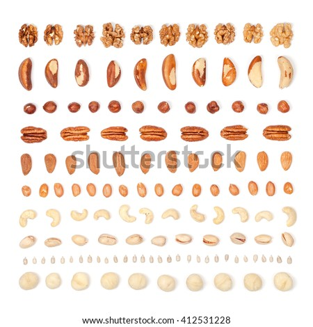 nuts organized on white background. flat lay concept top view #412531228