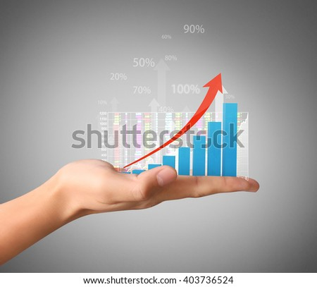Shutterstock nvestment concept with financial chart symbols coming from a hand