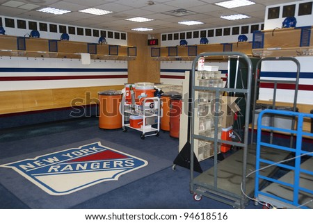 NY - NY - USA MAY 22: Locker room of New York Rangers in Madison Square Garden on May 22, 2009 NY, NY, USA. The New York Rangers are a professional ice hockey club based in the borough of Manhattan
