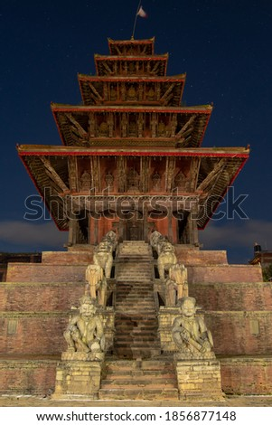 Nyatapola Temple is a 5-storeyed Hindu temple. Pagoda Style temple located in Bhaktapur, Nepal. The temple was erected by Nepali King Bhupatindra Malla during a  7-month period from late 1702 to 1703.