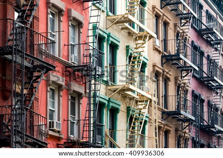 NYC Block of Rainbow colored apartment buildings in Manhattan, New York City