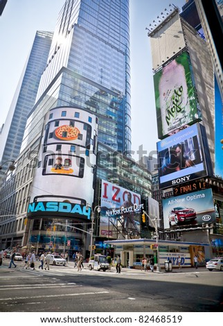 NYC - 9 JUNE: A street view at the headquarters of the NASDAQ Stock Exchange, the second largest trading market in the world. June 9th, United States, New York City, 2011