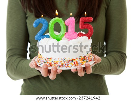 stock photo: 2015 birthday cake