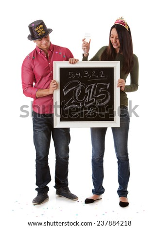 stock photo: couple celebrates 2015