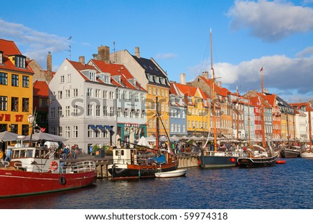 Nyhavn district of the Copenhagen city (Denmark) - stock photo