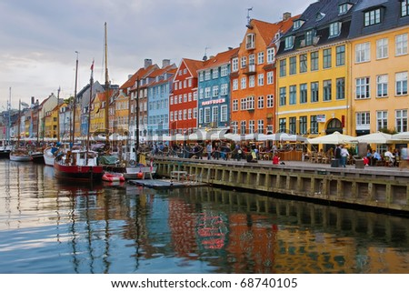 Nyhavn harbour at sunset (Copenhagen, Denmark)