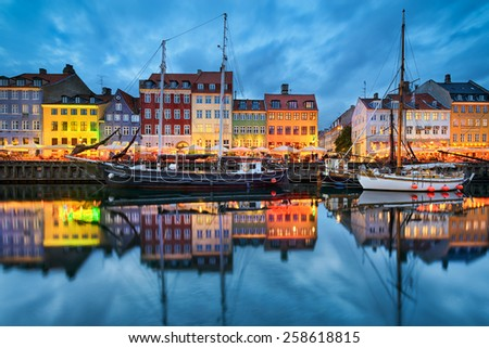 Nyhavn in Copenhagen, Denmark at night