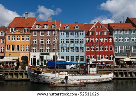 Nyhavn in Copenhagen, Denmark - one of the most popular tourist places of the Danish capital. - stock photo