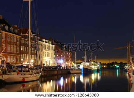 Nyhavn - popular district of Copenhagen, Denmark