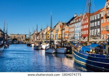 Nyhavn water front canal and touristic street in Copenhagen Stock fotó ©