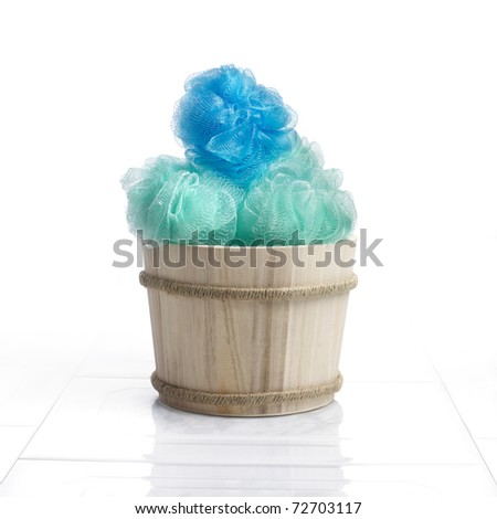 Nylon sponges in a bathroom ambiance