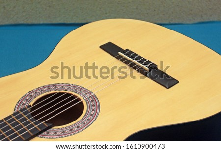Nylon strings on a classical guitar