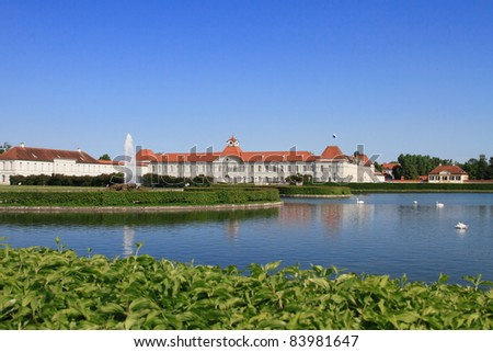 Nymphenburg palace and lake in Munich Germany