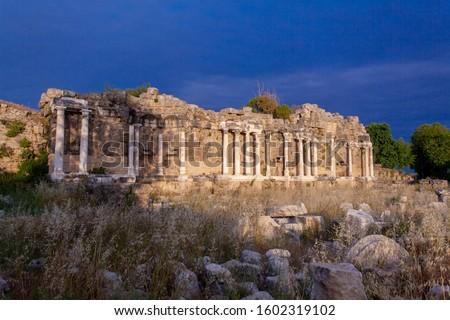Nympheum of Side ( 7 Çeşme Side antik kenti ) Stock fotó ©