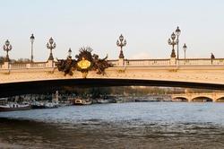 Nymphs of the Seine on Pont Alexandre III spanning the Seine River, Paris, Île-de-France, France