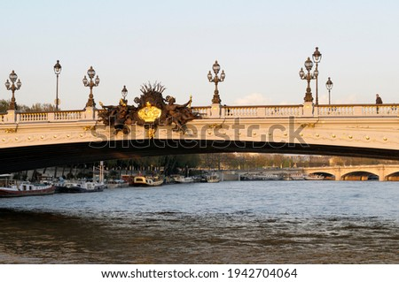 Nymphs of the Seine on Pont Alexandre III spanning the Seine River, Paris, Île-de-France, France Stock photo ©