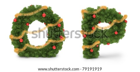 O and P letters - christmas tree collection