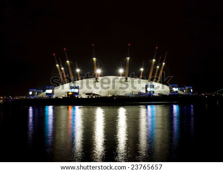o2 Arena, Millennium Dome at night-View from Canary Wharf