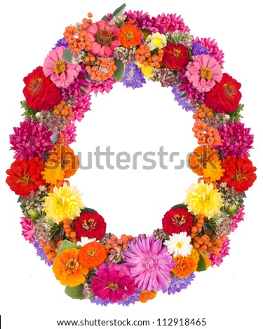 O,flower alphabet isolated on white