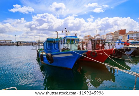 O Grove Ogrove port with fishing boats of Arosa river in Pontevedra of Galicia Spain