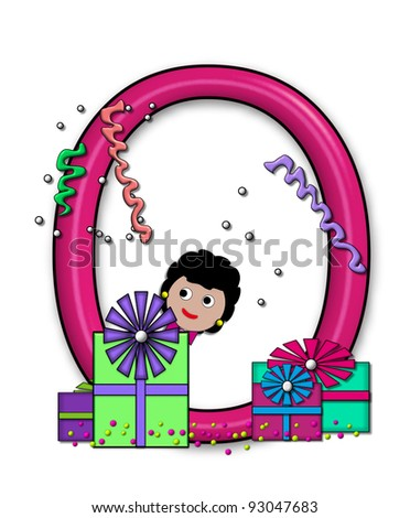 "O, in the alphabet set ""Birthday Letters"", is surrounded by colorfully wrapped presents complete with bows.  Woman hides behind presents and peeks out pretending surprise."