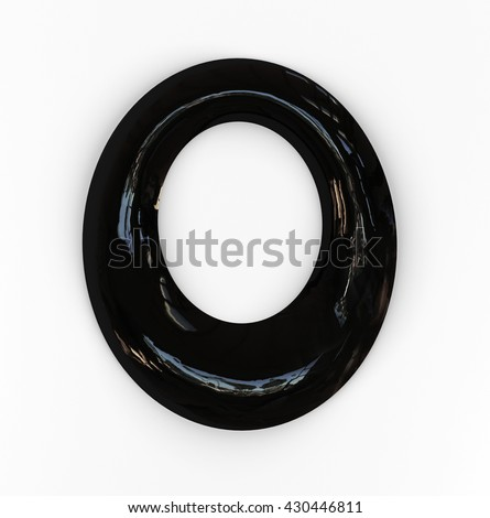 O letter. Oil Tar Font. Black Liquid Alphabet. 3d rendering isolated on white background. Zdjęcia stock ©