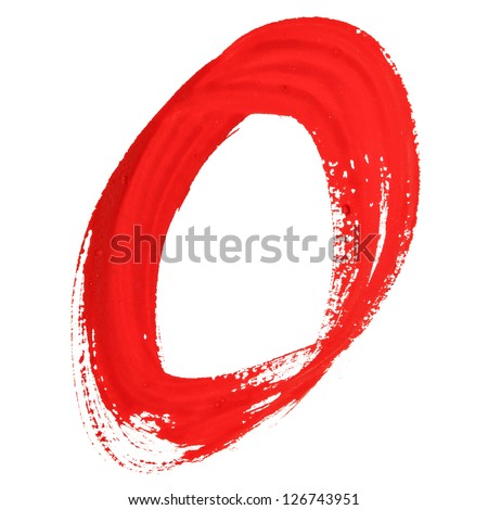 O - Red handwritten letters over white background