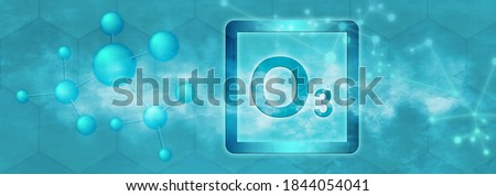 O3 symbol. Ozone molecule with molecule and network on grey background Photo stock ©