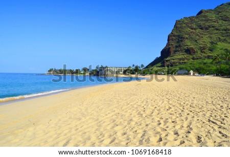 Oahu, Hawaii, Makaha beach in the morning, wonderful beach, the best in Hawaii, Tropical sandy beach, palm trees, azure sea