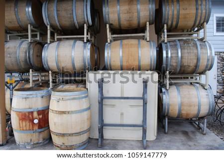 oak barrels stacked top. Oak Barrels Stacked On Racks - Wine Makers Lair Top