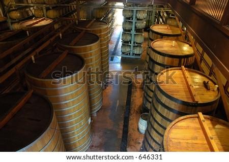 Oak casks in California winery