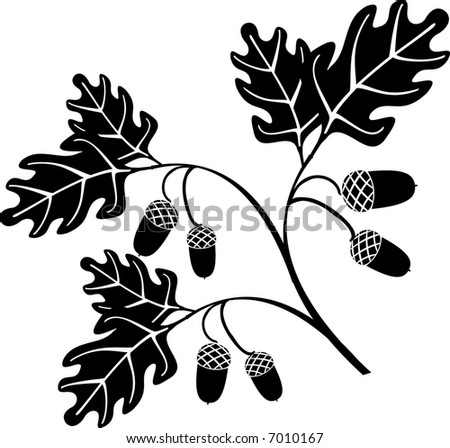 oak floral style tree vector