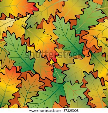 Oak leaf abstract background. Seamless. Orange - green palette. Raster illustration.