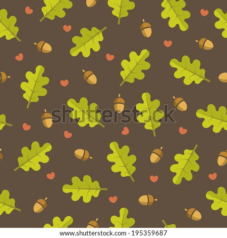 Oak leaves and acorns seamless pattern