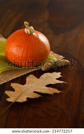 oak nuts and oak leaf on green and beige jutes with hokkaido pumpkin in background