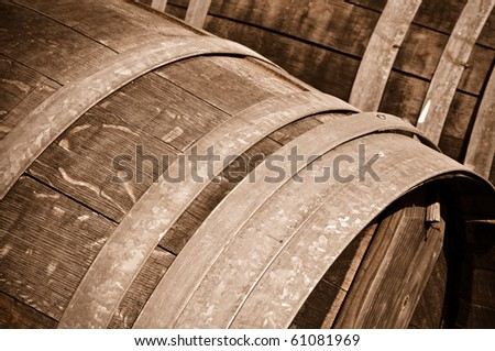 Oak Red or White Wine Barrel Close Up