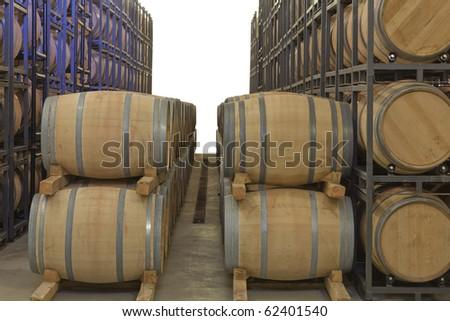 oak wine barrels in a cellar