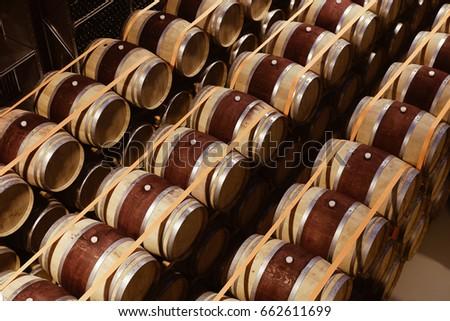 Oak wine barrels Antique Oak Oak Wine Barrels Stacked In Modern Winery View From Above The Wine Guy Oak Wine Barrels Stacked In Modern Winery View From Above Ez Canvas